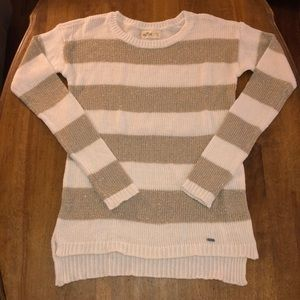 Hollister sparkle gold and white sweater
